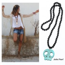 Aobei Pearl Knotted Necklace with Natural Wooden Beads & Skull Shape Turquoise Pendant, Pendant Necklace, ETS-S888