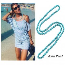 Aobei Pearl Handmade Necklace made of Skull Shape Turquoise Beads, Turquoise Necklace, Beaded Necklace, ETS-S892