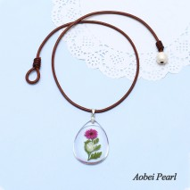 Aobei Pearl Handmade Necklace made of Freshwater Pearl, Artificial Amber with Glass & Real Flower and Genuine Leather Cord, Leather Pearl Choker Necklace, ETS-S893