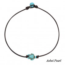 Aobei Pearl Handmade Necklace made of Turquoise and Genuine Leather Cord, Turquoise Necklace, Choker Necklace, ETS-S894