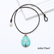 "Aobei Pearl - Handmade Necklace made of Leather Cord, Freshwater Pearl and Turquoise Pendant with Copper Wire Tree, "" The Tree of Life "", Pearl Choker Necklace, ETS-S895"