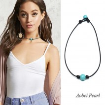 Aobei Pearl Handmade Necklace made of Turquoise and Genuine Leather cord, Leather Turquoise Necklace, Choker Necklace, ETS-S896