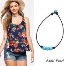 Aobei Pearl - Handmade Three Turquoise Beads Choker Necklace, Turquoise Necklace, Leather Necklace, ETS-S898