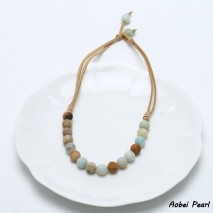 Aobei Pearl - Handmade Necklace made of Amazonite and Korean Velvet ( Suede ) for Fashion Women, Beaded Necklace, Cross Pearl Pendant Necklace, ETS-S901