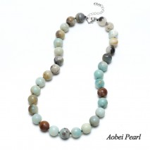Aobei Pearl - Handmade Knotted Necklace made of Amazonite Beads for Fashion Women, Beaded Necklace, ETS-S902