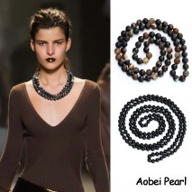 Aobei Pearl, Handmade Natural Agate Beads Necklace, Knotted Wrap Necklace, Beaded Necklace, ETS-S904