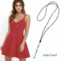 Aobei Pearl - Handmade Genuine Leather & Freshwater Pearl Necklace, Pearl Necklace, Pearl Pendant Necklace, ETS-S906