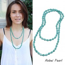 Aobei Pearl - Handmade Necklace with Leaf Shape Turquoise, Long Beaded Necklace, Turquoise Necklace, ETS-S909