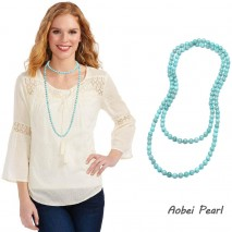 Aobei Pearl Handmade Beaded Necklace made of Natural Stone Beads and Cotton Thread, Knotted Necklace, Long Fashion Necklace, ETS-S910