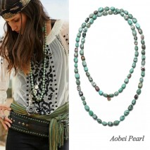 Aobei Pearl Handmade Necklace made of Turquoise and Cotton Thread, Knotted Necklace, Turquoise Beaded Necklace, ETS-S912