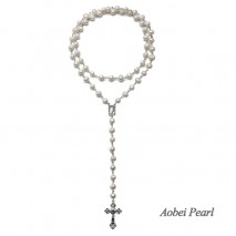 Aobei Pearl Handmade Necklace made of Freshwater Pearl and Alloy Accessory, Pearl Necklace, Catholicism Rosary Necklace, ETS-S914