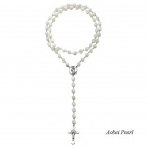 Aobei Pearl Handmade Necklace made of Natural Round Shell Beads, Alloy Cross and Alloy Accessory, Shell Beads Necklace, Catholicism Rosary Necklace, ETS-S916
