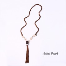 Aobei Pearl Handmade Necklace made of Natural Wooden Beads, Natural Stone Beads and Korean Velvet Tassel, Suede Tassel Necklace, Beaded Necklace, ETS-S917