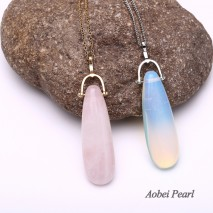 Aobei Pearl Handmade Necklace made of Alloy Chain and Opal Pendant or Pink Crystal Pendant, Chain Necklace, Pendant Necklace, ETS-S921