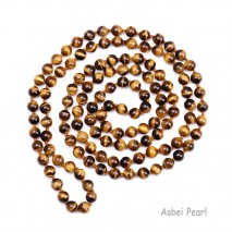 Aobei Pearl Handmade Knotted Necklace with Natural Tiger Eyes Stones on Cotton Thread, Beaded Necklace, Long Necklace, Wrap Necklace, Rosary Necklace, Player Necklace, ETS-S923