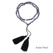 Aobei Pearl, Handmade Necklace with Freshwater Pearls and Double Cotton Thread Tassels, Tassel Necklace, Pearl Necklace, Knotted Necklace, Beaded Necklace, ETS-S924