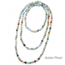 "Aobei Pearl Handmade 59"" Amazonite Endless Necklace, Knotted Necklace, Long Beaded Necklace, 8 mm Natural Amazonite Necklace, Wrap Necklace, ETS-S925"