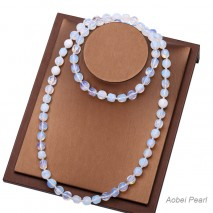 """Aobei Pearl Handmade 35.5"""" Opal Beaded Necklace, Knotted Necklace, Opal Necklace, Endless Necklace, String Necklace, Pure Fashion Necklace, ETS-S926"""