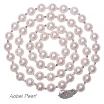 Aobei Pearl, Handmade Artificial Pearls Necklace with Platinum Plating Accessories, Shell Beads Necklace, The Mother of Pearls, Lariat Necklace, Endless Necklace, Beaded Necklace, Knotted Necklace, Bride Necklace, ETS-S927