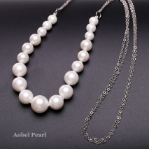 Aobei Pearl Handmade Artificial Pearl Bib Necklace with 24 K Platinum Plating Alloy Chain, Shell Necklace, Beaded Necklace, Chain Necklace, Double Chain, The Mother of Pearls, ETS-S930