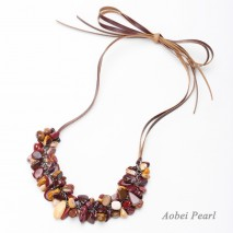 Aobei Pearl, Handmade Mookaite Necklace with Natural Gemstones and Flat Genuine Leather Cord, Natural Egg Stones Necklace, Bib Necklace, Adjustable Necklace, ETS-S939
