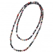Aobei Pearl Handmade Necklace with Natural Indian Agate Stones and Cotton Thread, Long Beaded Necklace, Endless Necklace, Knotted Necklace, ETS-S949