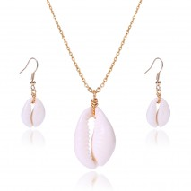 Aobei Pearl Seashell Pendant Necklace with a Pair of Seashell Dangle Earring, 18K Gold Plated Alloy Jewelry, Adjustable Necklace, Shell Drop Earring, Beach Jewelry Set, ETS-S956