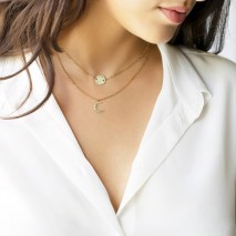 Aobei Pearl 18K Gold Chain Choker Necklace Sun and Moon Pendant Necklace Handmade Adjustable Jewelry for Women, Layering Necklace, ETS-S977