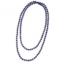 "Aobei Pearl Handmade 47.5"" Blue Goldstone Beads Endless Necklace, Knotted Necklace, Long Beaded Necklace, Gemstone Necklace, ETS-S981"