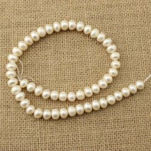 ETS -Z122  A long white 37cm diameter 9-10MM button pearl
