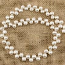 ETS -Z124  A long 37cm diameter 7-8MM natural pink button pearl