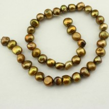 9-10 mm Green bronze baroque freshwater pearl strands; pearl beads strands;necklace pearl strand ;ETS-Z130
