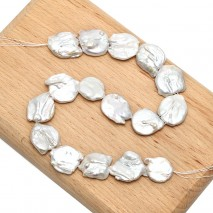ETS-Z215 20-25 mm Coin White Pearl Long Chain