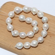 Aobei Pearl, 16-18 mm White Baroque Loose Pearls, A String of 40 cm (about 21 Pieces) from the Sale, ETS-Z218