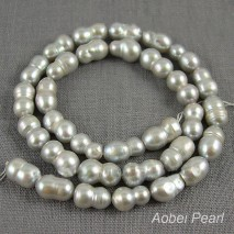 Aobei Pearl, 1 Strand from the Sale, 8-9 mm Gray Cucurbit Pearl Strand in 37 cm Long, Pearl Strand, Pearl for Necklace, Pearl for Jewelry, Freshwater Pearl, Pearl with Small Hole, ETS-Z220