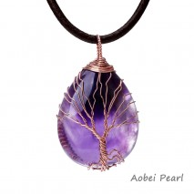 Aobei Pearl - Handmade Necklace made of Leather Cord, Freshwater Pearl and Opal / Amethyst with Copper Wire Tree, ETS-S850