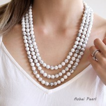 "Aobei Pearl Handmade 59"" Natural White Turquoise Necklace, Long Beaded Necklace, Knotted Necklace, Wrap Necklace, Yoga Necklace, ETS-S938"
