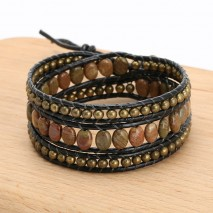 Aobei Pearl, Handmade Real Leather Wrap Bracelet Made of Natural Stone and 4 mm Bronze Beads, ETS-B486