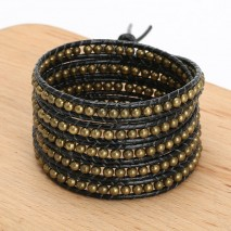 Aobei Pearl, Handmade Real Leather Wrap Bracelet with 4 mm Bronze Beads, ETS-B487