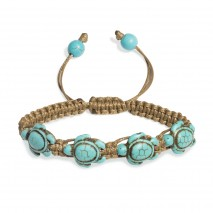 Aobei Pearl, Handmade Braided Bracelet with Turquoise Tortoise and Wax Rope for Beach Style, ETS-B509