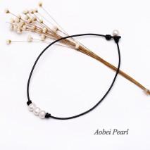 Aobei Pearl - Handmade Three Freshwater Pearls Choker Necklace, Pearl Necklace, Leather Necklace, ETS-S633