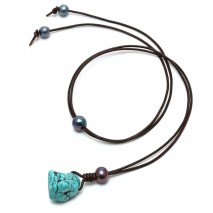 Aobei Pearl, Handmade Pearl Necklace with Turquoise Pendant and Leather Cord, Pendant Necklace, ETS-S575