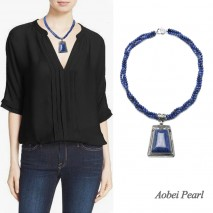 Aobei Pearl Handmade Necklace made of Natural Lapis Lazuli or Natural Tiger Eye Stone Beads with Corresponding Material Pendant and 925 String Silver Clasp, Beaded Necklace, Wrap Necklace, ETS-S913