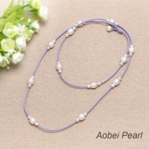 Aobei Pearl, Handmade Long Necklace made of Freshwater Pearl and Genuine Leather Cord, Freshwater Pearl Necklace, Long Necklace, Wrap Necklace, ETS-S178
