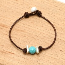 Aobei Pearl Handmade Freshwater Pearl, Turquoise and Leather Cord Bracelet, Women Jewelry, ETS-B436