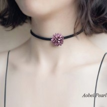 Aobei Pearl, Handmade Necklace with Korean Velvet ( Suede ) in Flower Shape, Flower Choker Necklace, ETS-S881